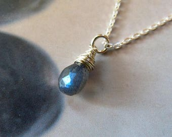 Blue labradorite Sterling silver necklace, natural jewelry, handmade pendant, 50th birthday gift, small gift for her, 40th birthday, for mom