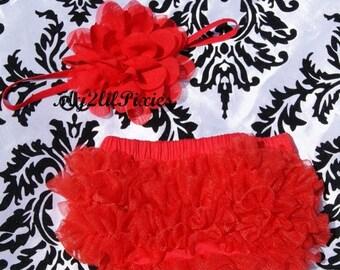 SALE Red Headband and Bloomer, Baby girl headband, chiffon ruffle diaper cover, Christmas, Red headband, Newborn Photo Prop- Ready to Ship