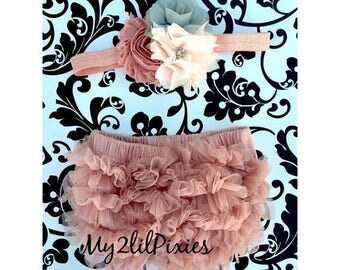 SALE Baby Bloomer and Shabby Chic Headband Set- Ruffle Bum Baby Bloomer, Vintage Inspired, Vintage pink,newborn bloomer, photo prop-My2lilPi