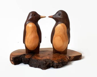 Wood anniversary gifts for anniversary gift her men anniversary gift for her unique wedding gift couple gift wood 5th anniversary penguin