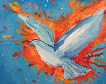 White Dove Painting  12 x 12 Peace Original Art -  Artwork