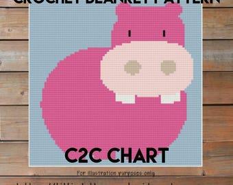 Girl Afghan Blanket Hippo Crochet Chart  -  Easy Baby Blanket - baby blanket pattern - Corner to Corner - C2C Written Line Counts
