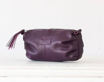 Purple leather makeup bag, cosmetic case vanity storage accessory bag toiletry case utility bag pouch - Ariadne makeup bag