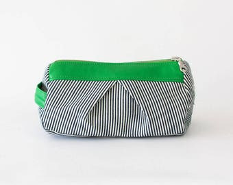 Accessory bag striped blue jeans and green leather, makeup bag cosmetic case bridemaids gift zipper pouch - Estia Bag