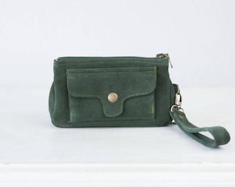 SALE Wristlet phone wallet green suede leather, womens phone wallet phone case zipper wallet clutch wallet  - Thalia Wallet