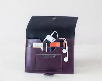 Purple leather bifold wallet, phone wallet bifold womens large leather phone wallet minimalist - Iole Wallet