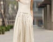 Beige linen dress, linen dress, loose linen dress, sleeveless dress, womens dresses, midi dress, pleated skirt, linen summer dress  931