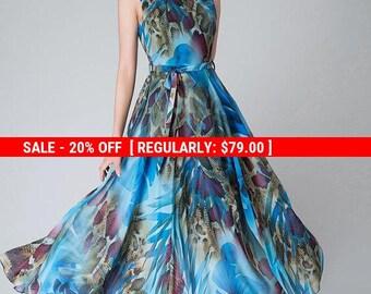 print dress,Blue floral dress, Blue Chiffon dress ,prom dress ,maxi dress,flared dress,Bohemian Dress,modern dress,Custom made clothing 1522
