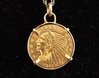 US Indian Head 2 1/2 Dollar 1913 Gold Coin in Custom 14K Gold Bezel!  Great Father's Day Gift!  One of a Kind!