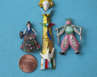 3 Figural Brooches Pins Vintage 1930s 1940s Spanish Dancer Dutch Man Totem Pole Cold Painted & Rhinestones