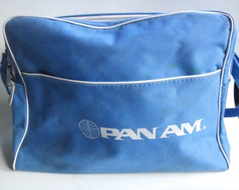 Vintage 1960s Pan Am CANVAS Carry on Flight Tote Bag - Flight Shoulder Bag