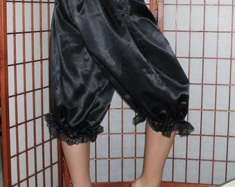 Womens BLACK XSMALL Satin Bloomers with Lace Ready now!