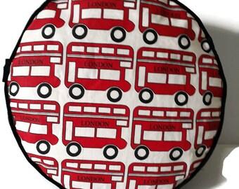 London Red Bus Round Pouffe Home Decor item  Floor Cushion Decorative Pillow Cushion Furniture Housewarming Gift