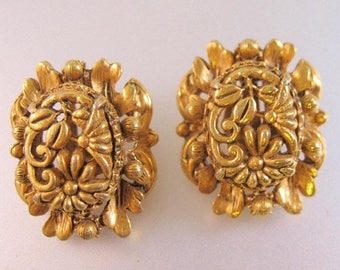 XMAS in JULY SALE Florenza Floral Gold Tone Clip On Earrings Vintage Jewelry Jewellery