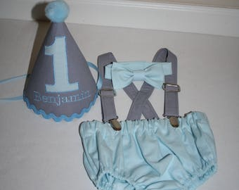 baby boy cake smash first birthday outfit boy light blue and gray 1st birthday boys diaper cover bow tie personalized first birthday hat