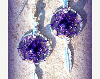 SALE WHO LOVES Purple - Purple, silver & Amethyst Dream catcher earrings- available in silver or gold