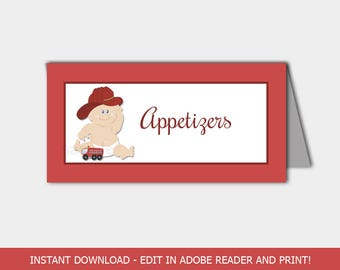 Firefighter Baby Fireman Baby Shower Food Labels / Place Cards / Tent Cards / Editable Printable PDF INSTANT DOWNLOAD bs-102