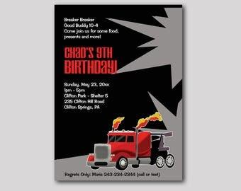 Semi Truck Hot Rod Trucker Birthday Invitation Any Age, Digital Printable JPG or PDF File, Boys Birthday