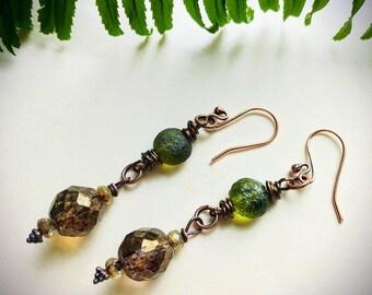 Dangly shimmery earth tones earrings!