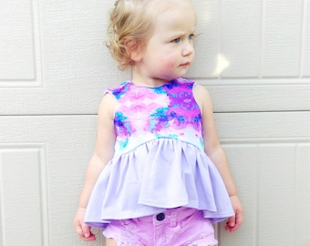 CROPPED TOP or DRESS- Watercolor- Toddler/Girls, crop top or dress