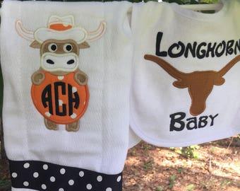 Longhorn Monogram bib & burpcloth set