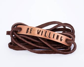Be Willing Copper Wrap Bracelet - Recovery, Sobriety, Sober, Gift for Her, Gift for Him