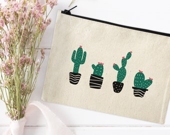 Canvas Makeup Bag - Cactus Make Up Pouch - Canvas pouch - Cosmetic pouch - Cosmetic Bag - Makeup Organizer - Cute Cosmetic Bags-Clutch