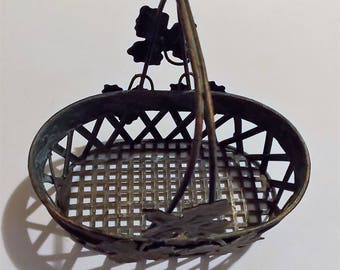 Painted Metal Basket, Vintage Green & Copper, Sturdy Solid Basket, Decorative Leaves, Hold Napkins, Fruit, A Plant