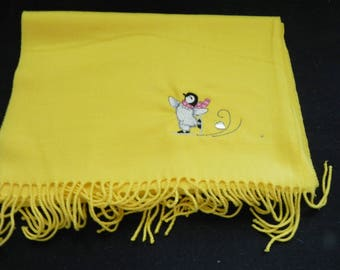 """Embroidered Yellow 100% Cashmere Scarf 72"""" X 12"""""""