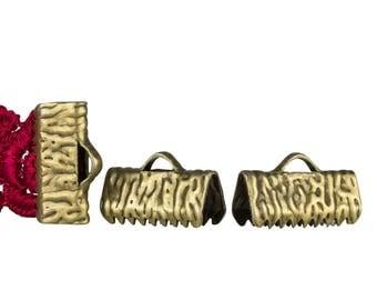 50pcs.  13mm  (1/2 inch)  Antique Bronze Ribbon Clamp End Crimps - Artisan Series
