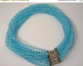 45% off Sale Art Deco Twelve Strand Blue Glass Necklace with Rhinestone Clasp