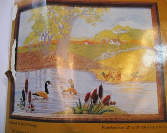 Canada Geese, Embroidery Kit, 12 by 16, Color Print, Craft Kit, Embroidery Kit, by NormasTreasures