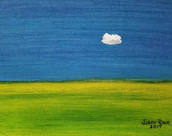 "cloud oil painting landscape single solitary sky grass clouds original canvas art paintings 5x7"" - Alone and Fine"