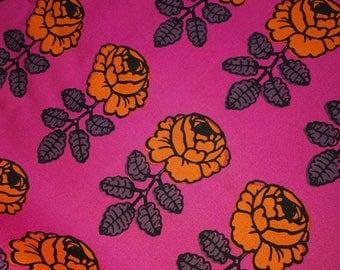 Marimekko vintage VIHKIRUUSU fabric pink and orange rose Maija Isola 1965 / 2009