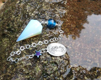 Opalite Pendulum, Turquoise Lamp Work Bead, Sterling Chain, Hematite Star and a Vintage Religious Medal