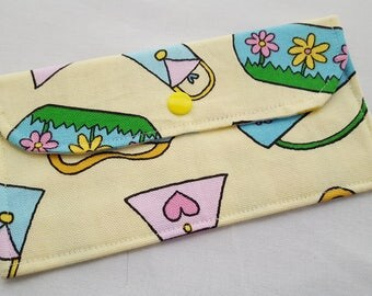 Fabric Wallet Pouch Card holder -  Yellow Purses Bags