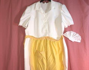 Diner waitress Flo Alice 50 60s white dress apron womens 3XL Halloween Costume Rosie maid hair ruff