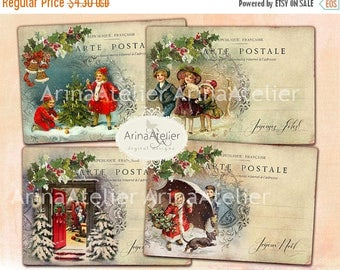 SALE - 30%OFF - Digital Cards Christmas Post Cards -Digital Tags - set of 4 - 3,5x5 inches ATC cards - digital download