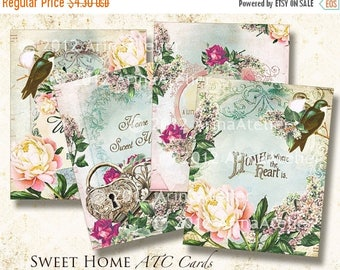 SALE - 30%OFF - Vintage Sweet Home ATC Cards - Digital Tags - Digital Download Sheet - Shabby chic cards