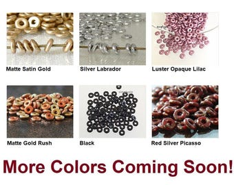O Bead Donut Ring Czech Glass Beads 100 Pcs Ur PICK Matte Gold Silver Labrador Red Picasso California Gold Rush Luster Opaque Lilac Black