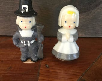 Vintage Mid Century Gurley Novelty Company Candles, Small Pilgrim Girl and Boy Candles, Still have labels, Vintage Thanksgiving Decor