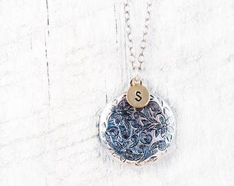 Personalized Locket Necklace Antiqued Silver Locket Round Locket Initial Necklace Floral Locket