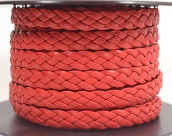 10mm Flat Braided Leather - Red - 10MFB-14 - Choose Your Length