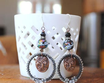 Skull Earrings, Cameo Earrings, Sparkling Earrings, Halloween Earrings, Day of the Dead Earrings, Skeleton Earrings, OOAK Jewelry, Spooky