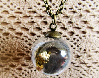 Feather and Gold Leaf Nature Glass Sphere Mori Girl Necklace