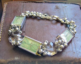 Steampunk Vintage Map Vintage Watch and Chandelier Crystal Bracelet - A British Holiday