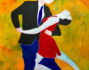Tango Partners - ooak - 20 x 16ins (50 x 40cms)  They tango the night away enthralled with each other