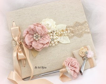 Guest Book,Rose,Blush,Ivory,Champagne,Gold, Blank Pages,Linen Guest Book,Shabby Chic,Vintage Wedding,Anniversary,Elegant,Pen,Signature Book