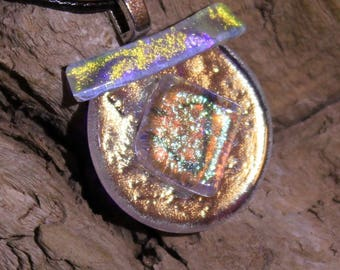 Dichroic Glass Circular Pendant // Gifts for Her // One of a Kind Jewelry // Handmade