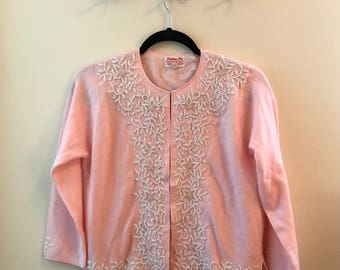 Gorgeous 1940's Vintage Wool Beaded Cardigan Sweater